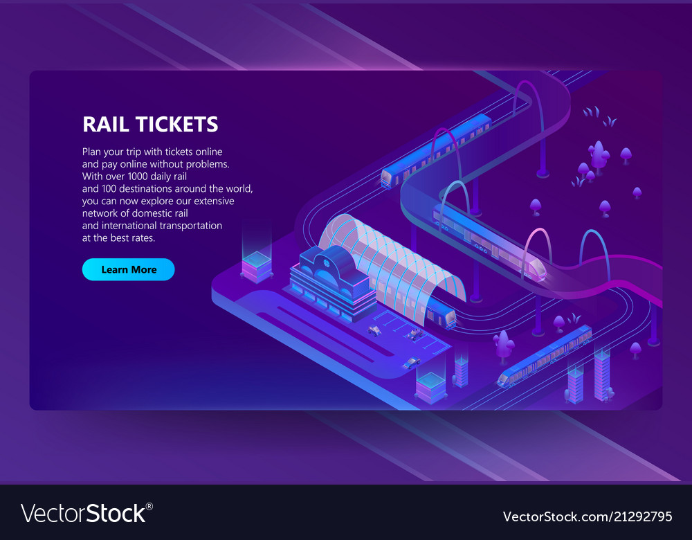 Isometric railway station with trains