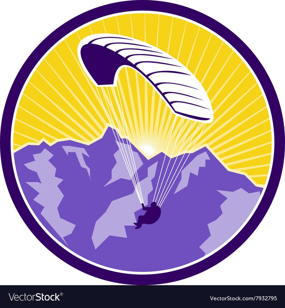 Paragliding Alps Mountains Circle Retro