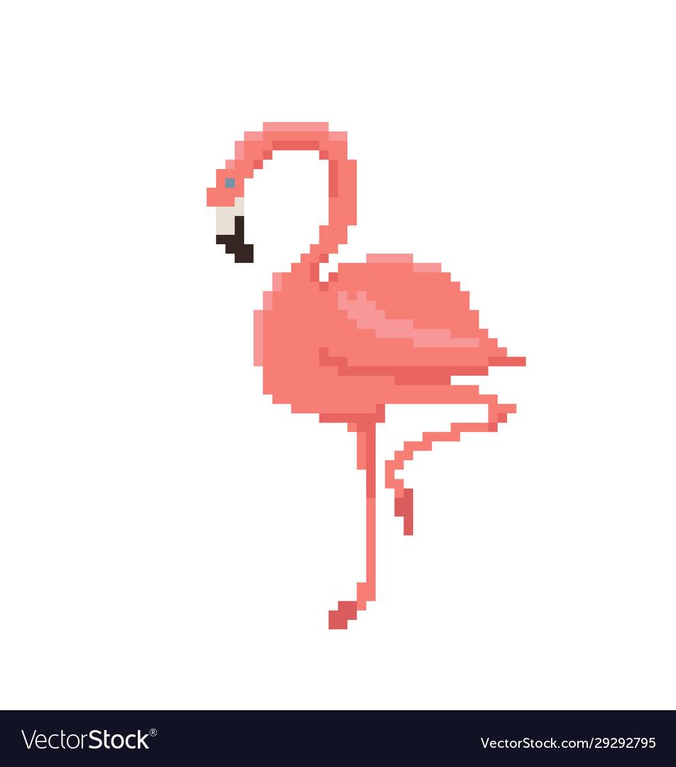 Pixel art flamingo isolated on white background
