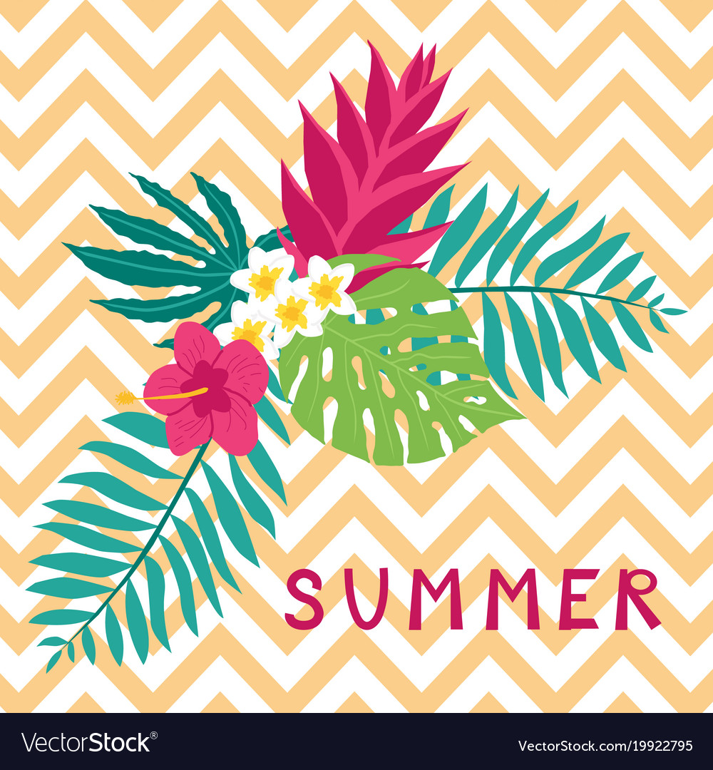 Summer background with tropical leaves