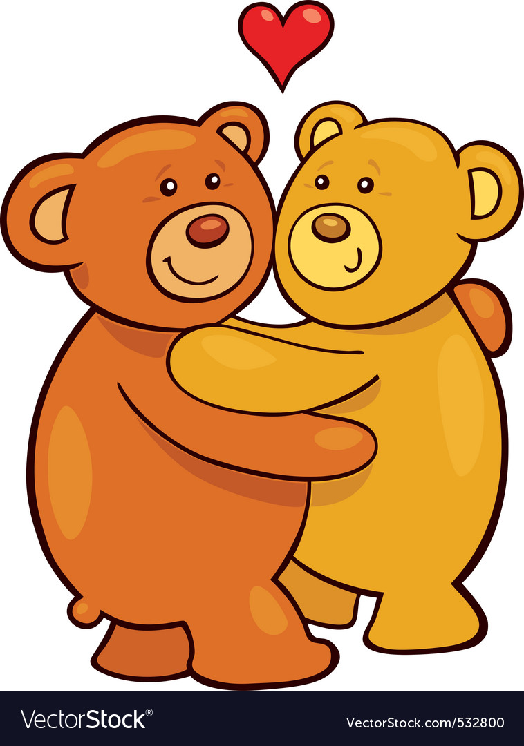 Cartoon illustration of two teddy bears in love