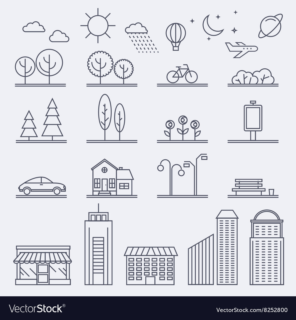 City in linear style Icons and