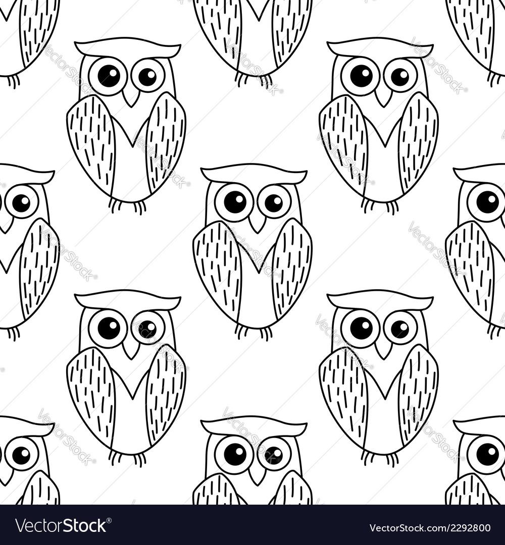 Cute little owl seamless pattern