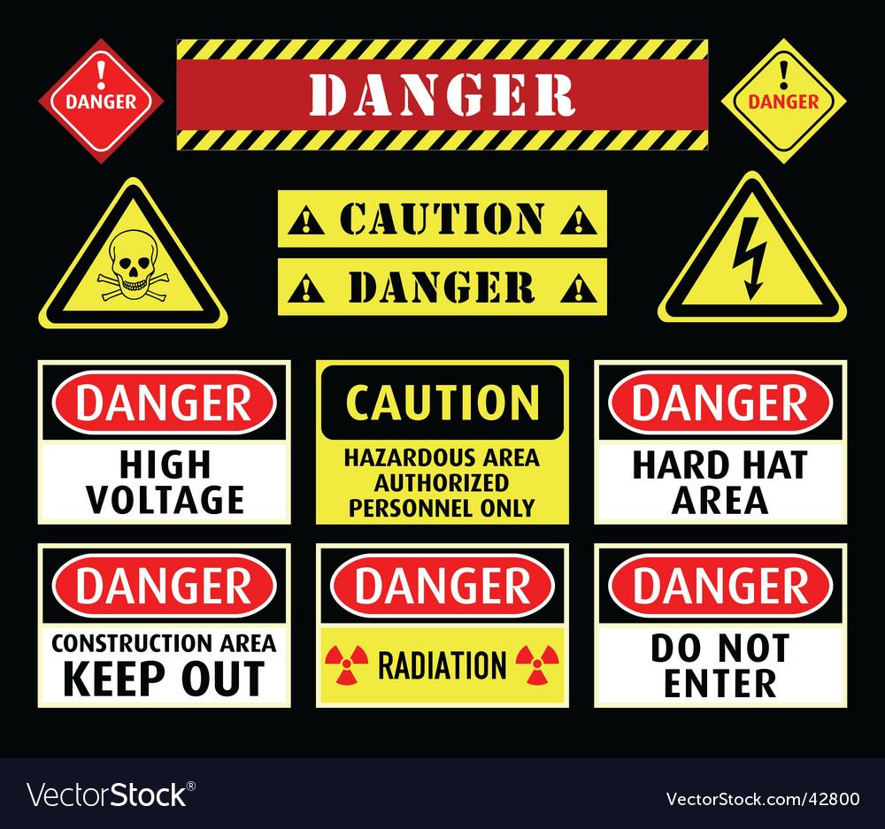 Danger warning symbols