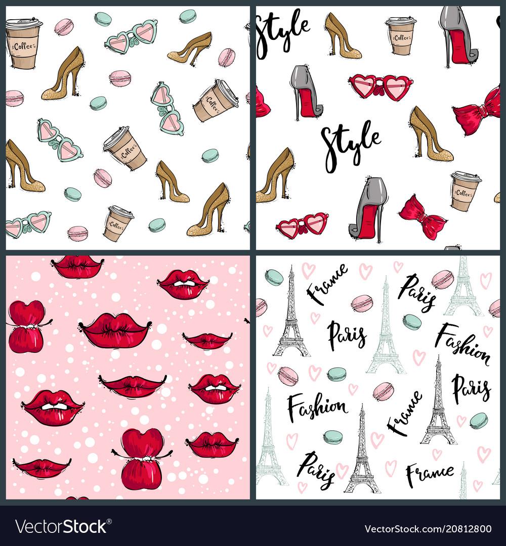 Fashion cosmetics accessories seamless pattern