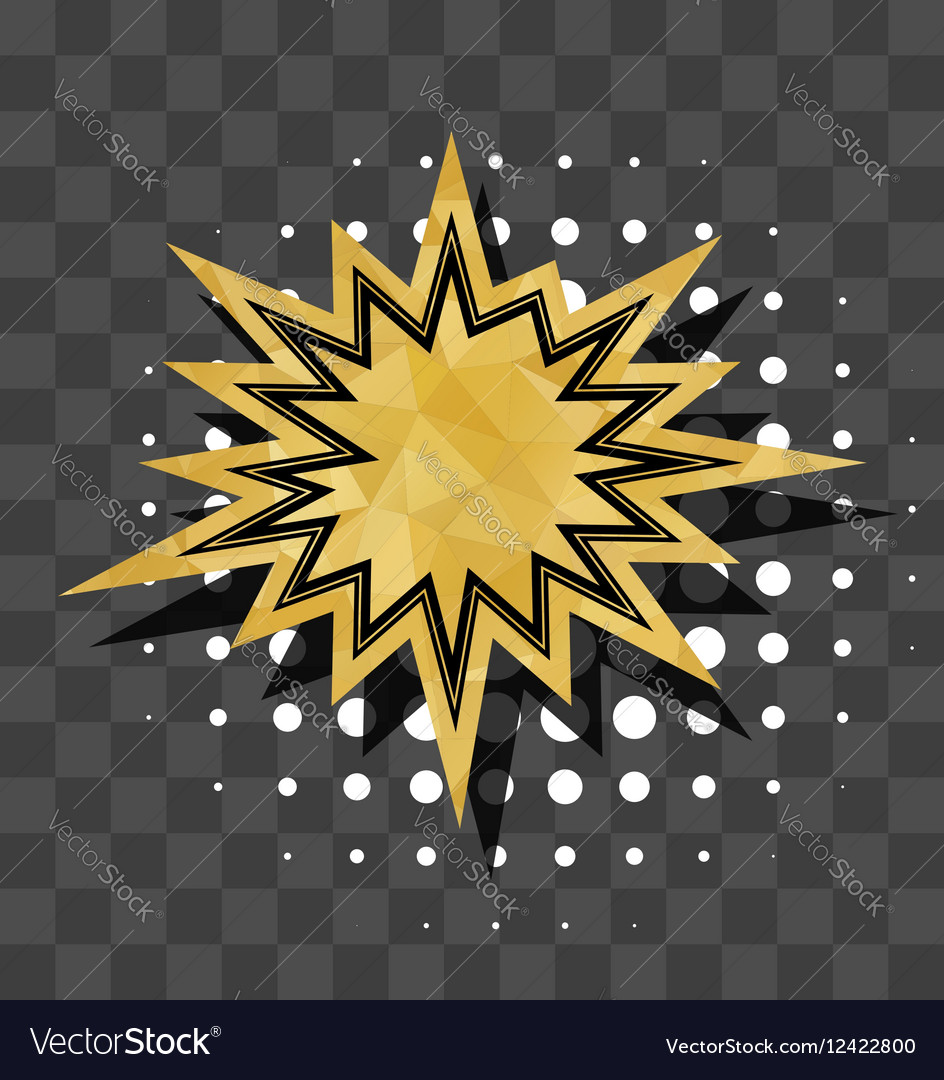 Gold sparkle star comic text bubble vector image