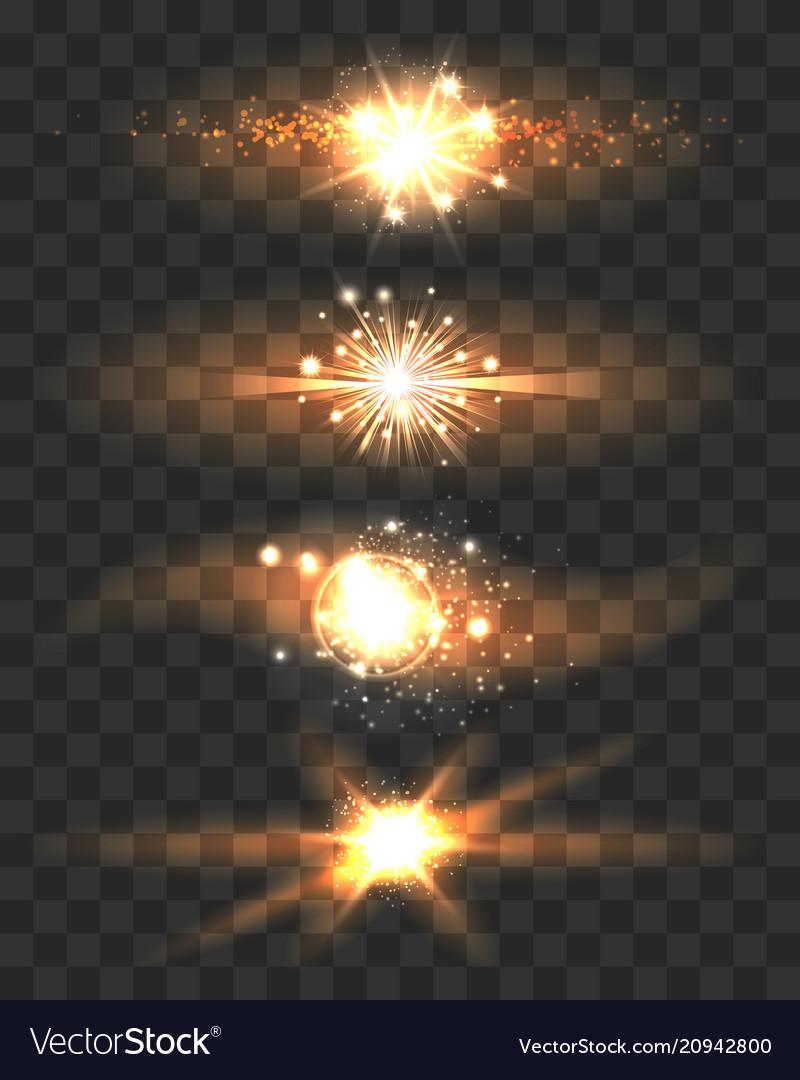 Golden glow light effects stars on transparent