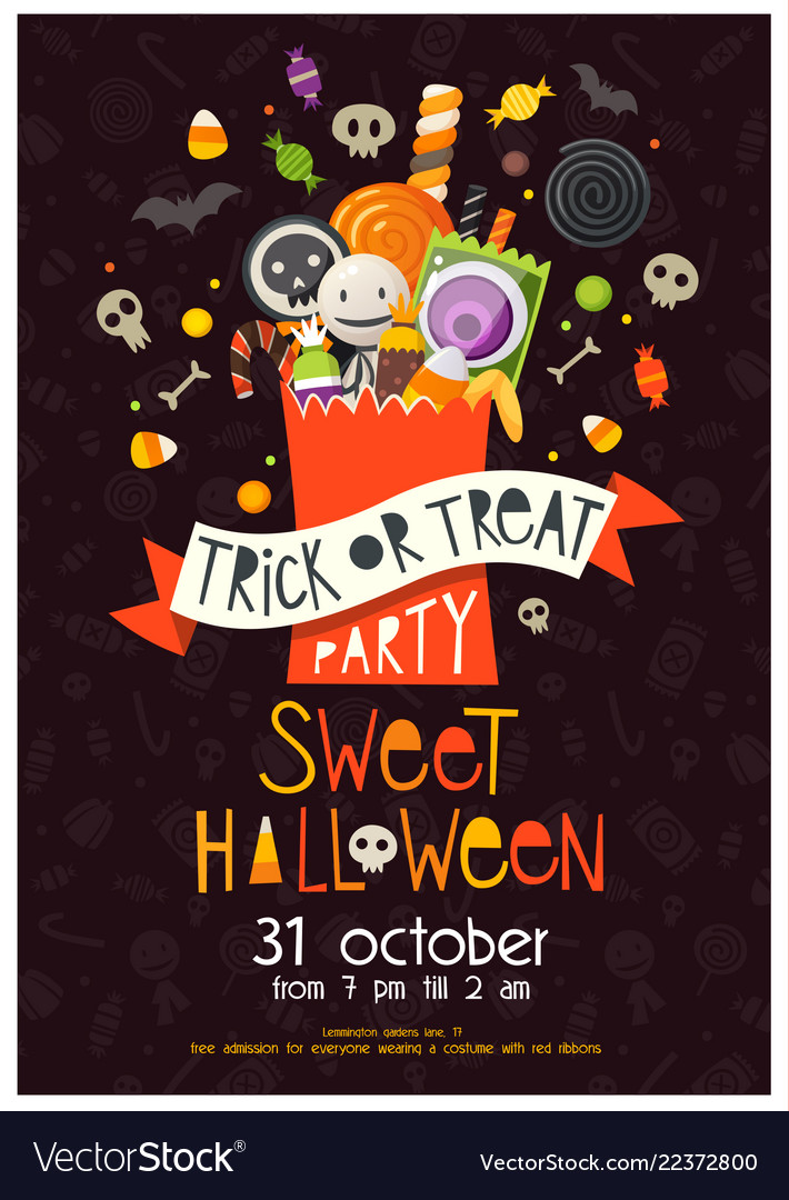 Halloween poster with sweets