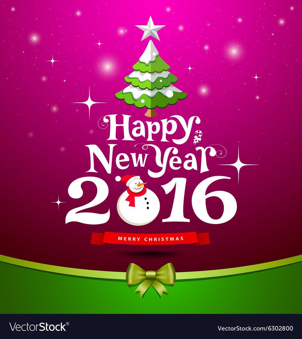 Happy New Year Greeting Card design on purple