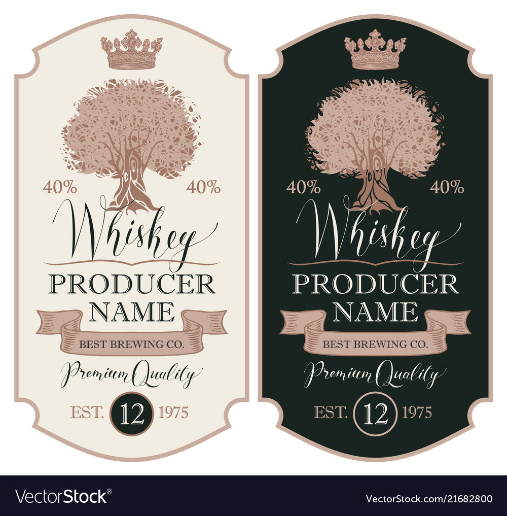 Labels for whiskey with crown and oak tree