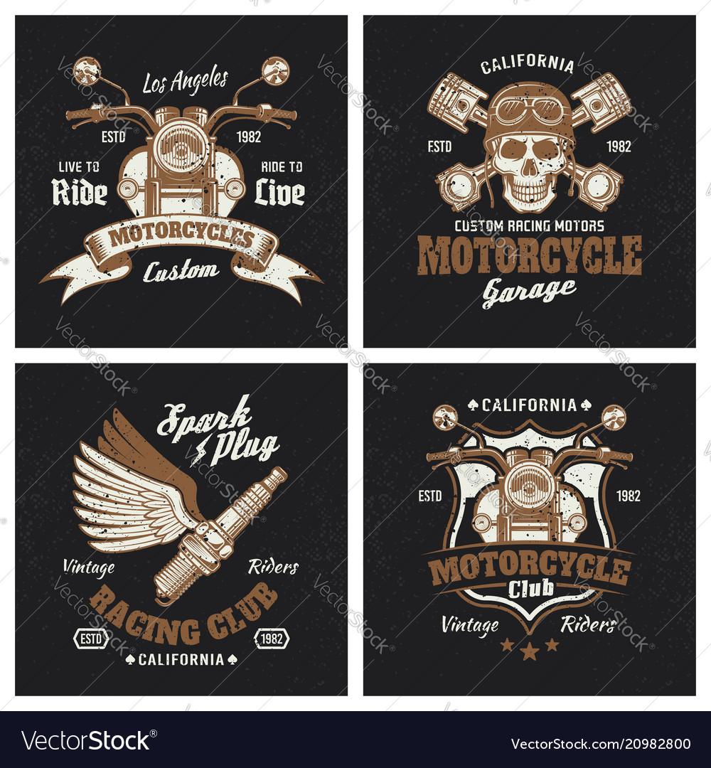 Motorcycle colored emblems or prints on dark