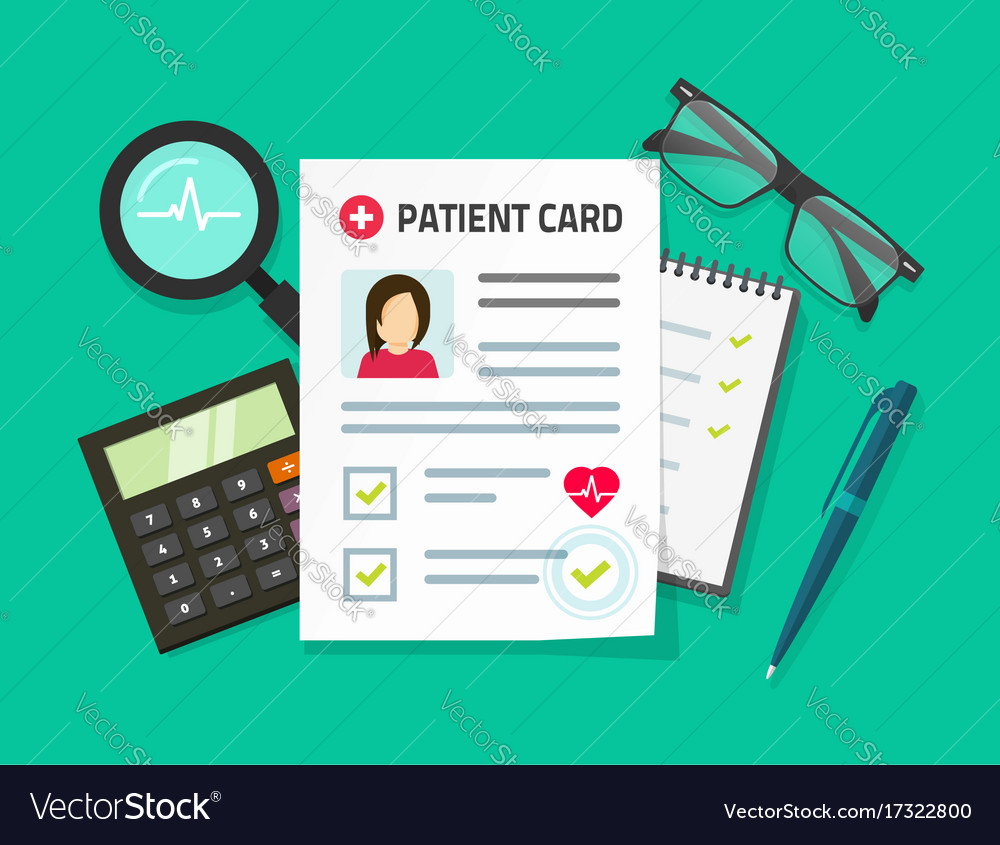 Patient card flat cartoon