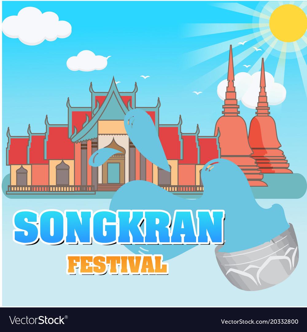 Songkran festival water splash temple background v vector image