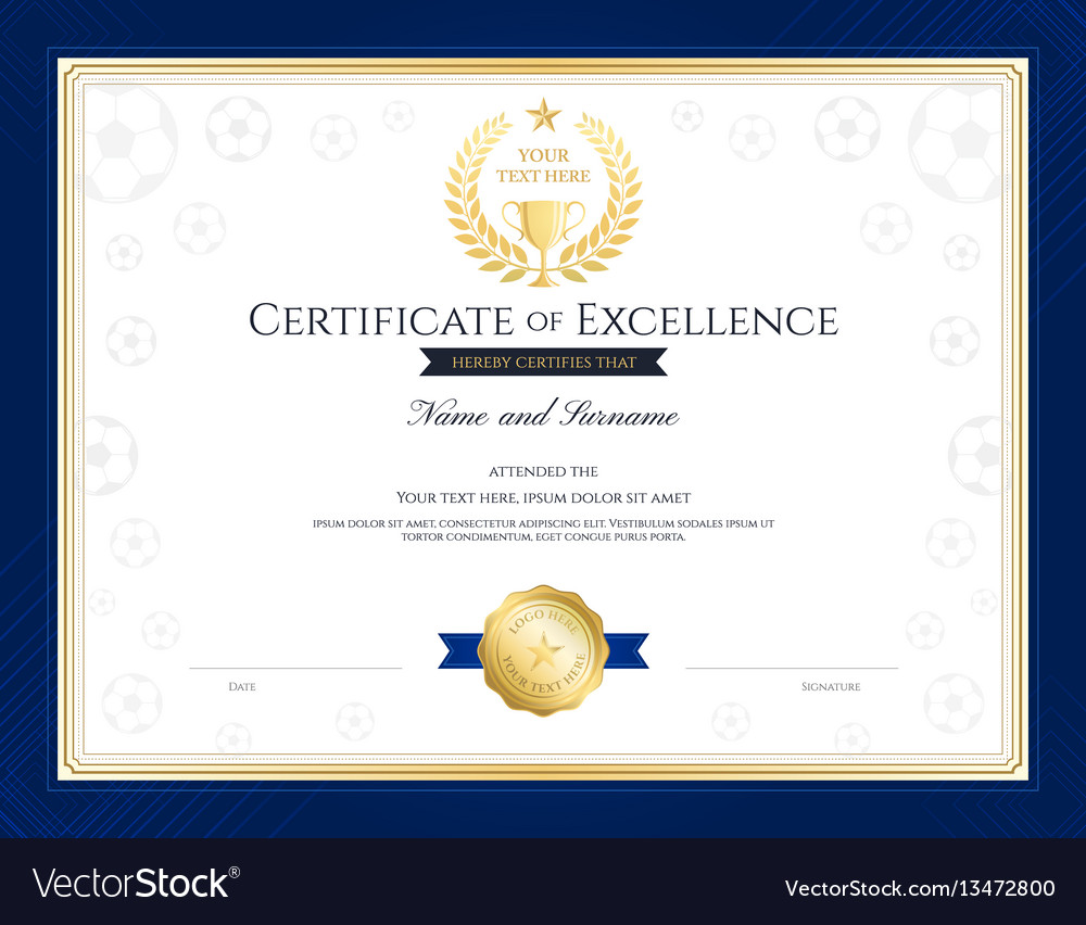 Sport Theme Certification Of Excellence Template Vector Image