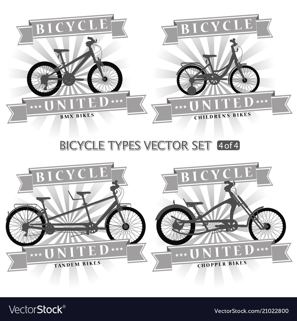 Types Of Bicycles >> Types Of Bicycles In The Form Of Silhouettes Vector Image