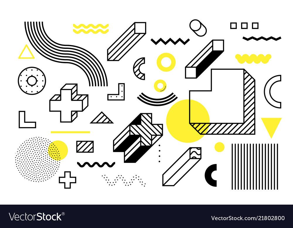 Universal trend halftone geometric shapes set