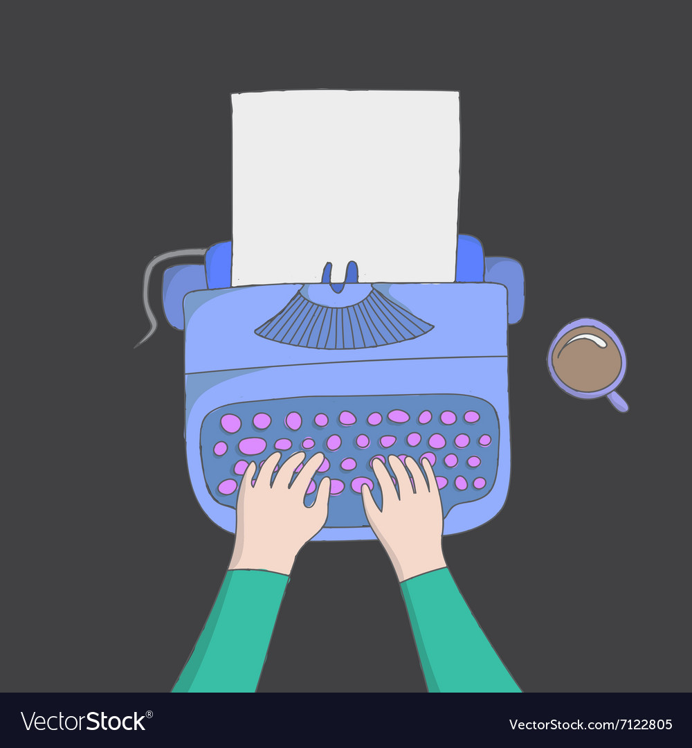 Author hands typing vector image