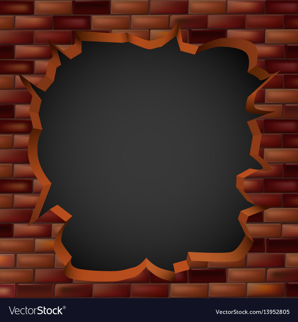 Breaking through a brick wall with a hole