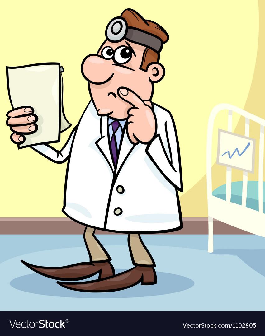 Cartoon of doctor in hospital