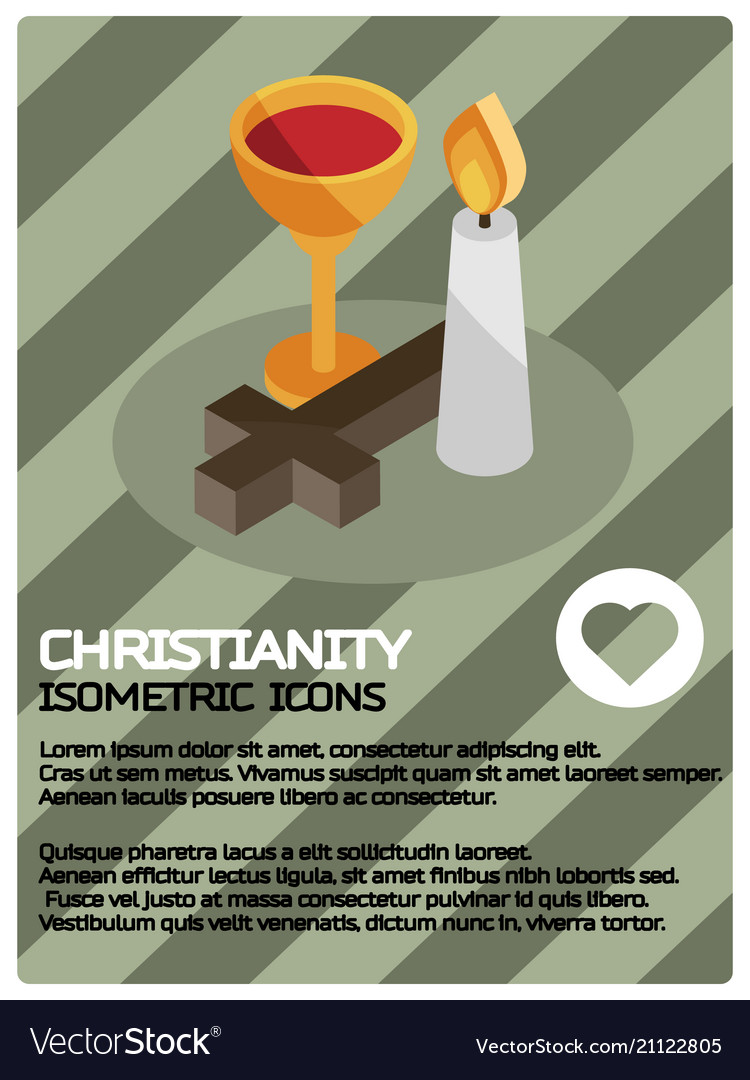 Christianity color isometric poster
