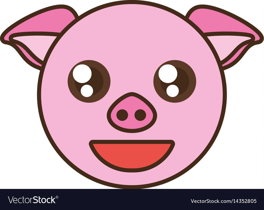 Cute Pig Face Kawaii Style Royalty Free Vector Image