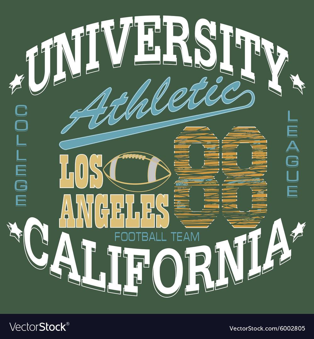 Football T-shirt graphics California sportswear vector image