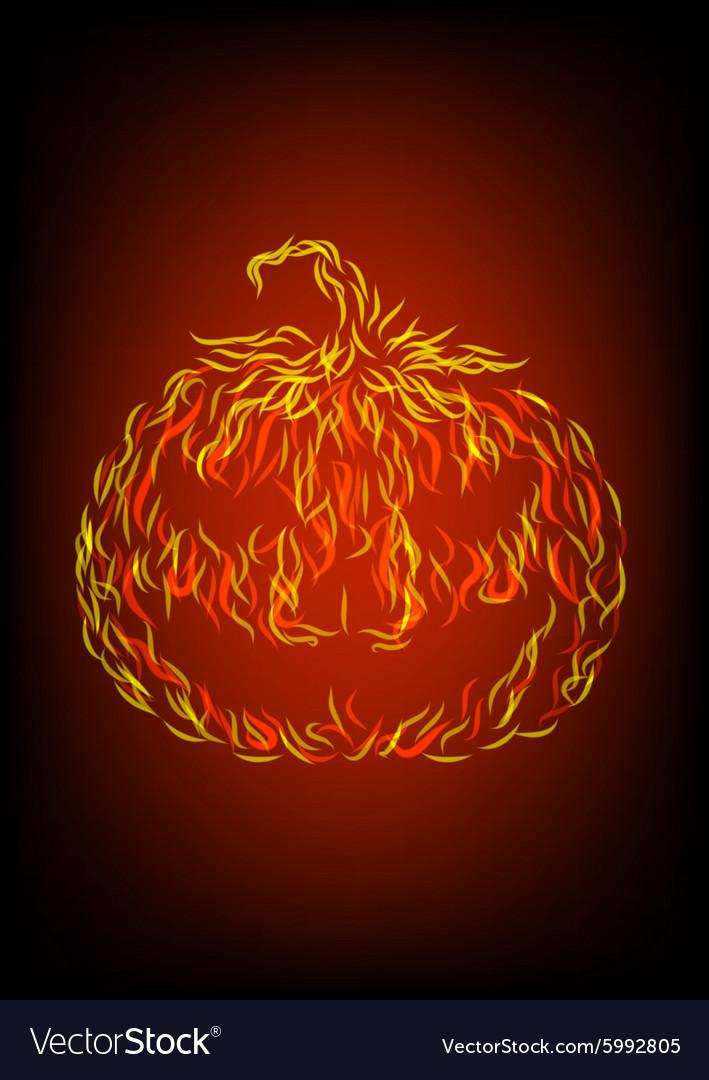 Halloween pumpkin in fire vector image