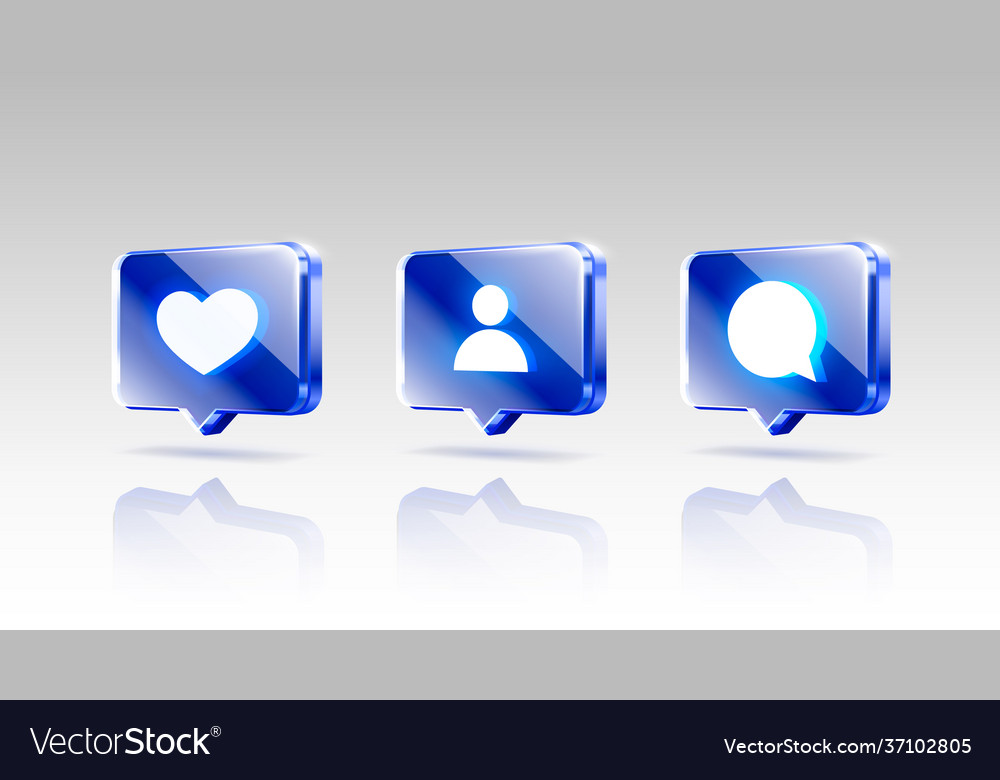 Hand like and chat icons set sign follower 3d