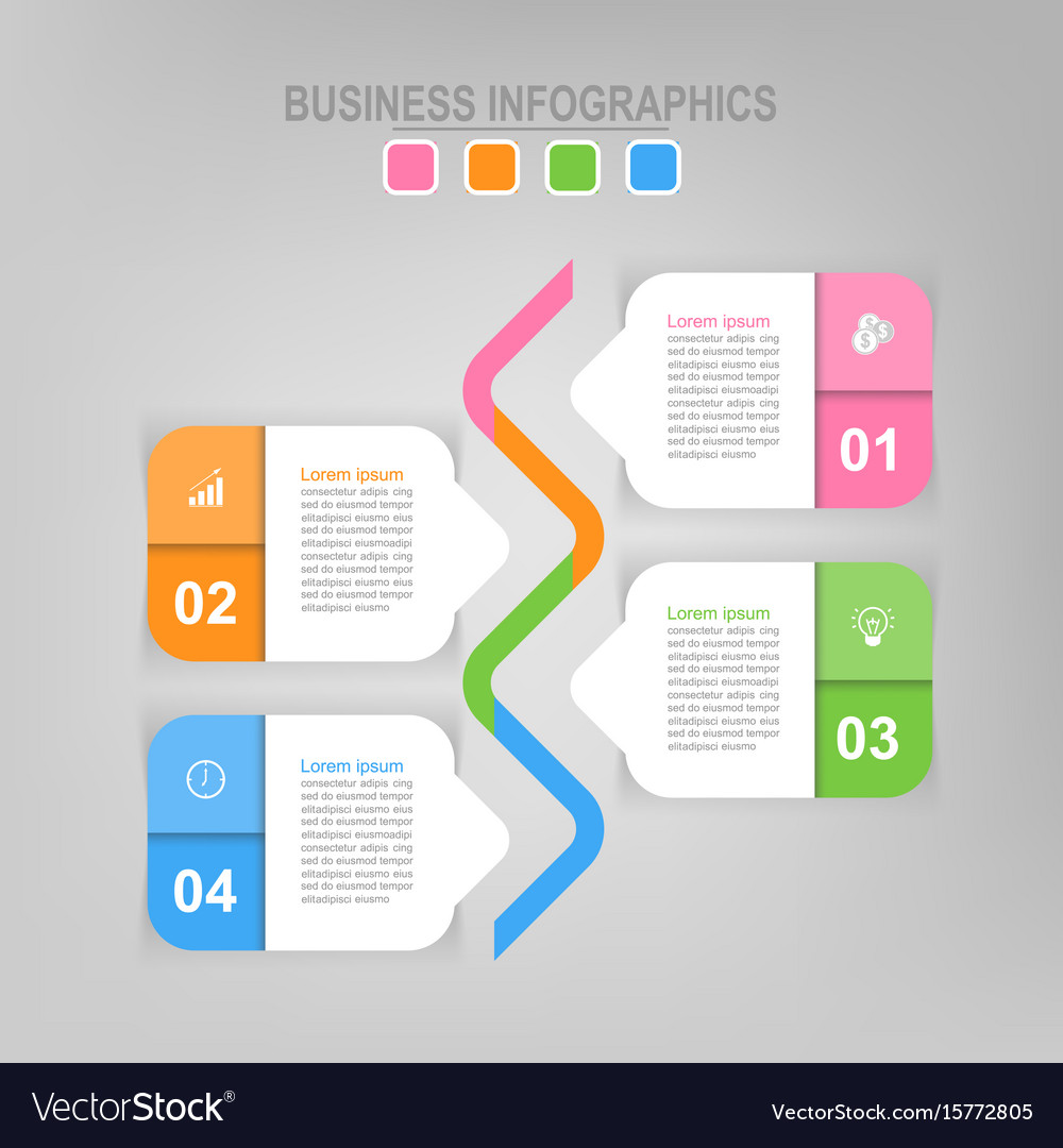 Infographic of step flat design of business icon