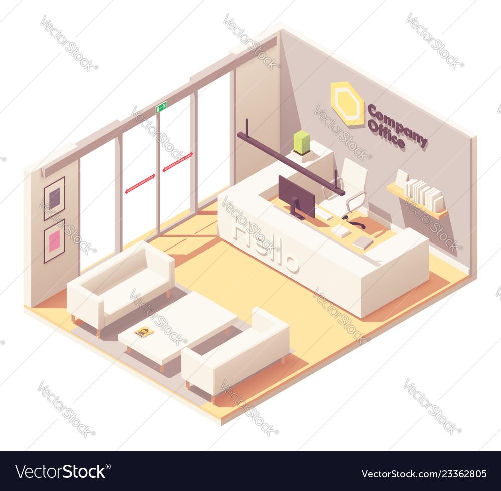 Isometric Office Reception Desk Interior Vector Image