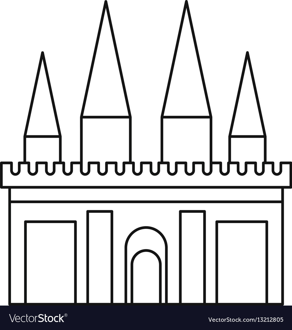 Kingdom palace icon outline style Royalty Free Vector Image on magic kingdom outline, girl outline, village outline, people outline, hospital outline, aqueduct outline, church outline, shop outline, stone outline, zoo outline, apartment outline, coliseum outline, forbidden city outline, bridge outline, beach outline, art outline, pagoda outline, history outline, car outline, temple outline,