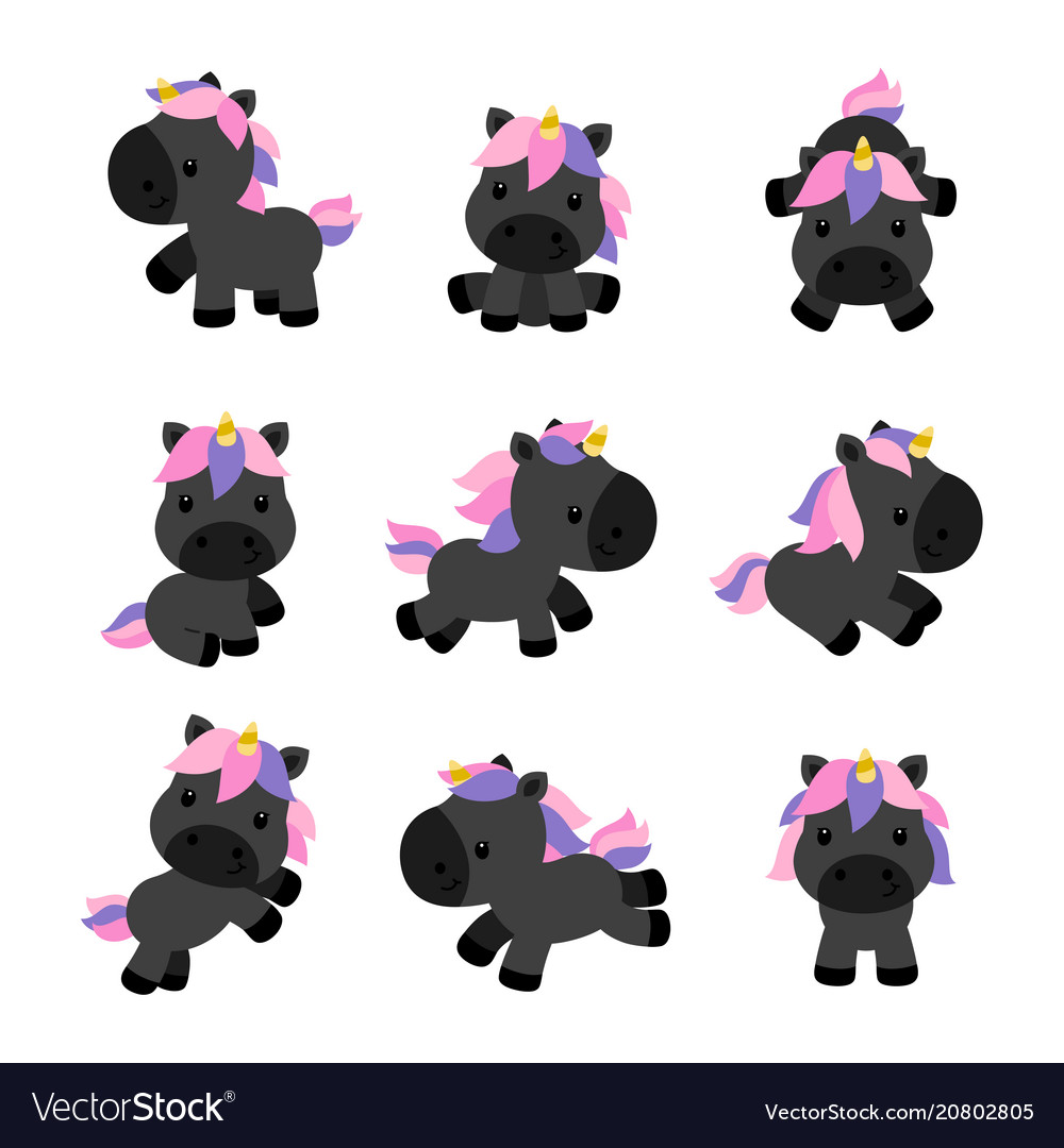 Little unicorns in modern flat style isolated on vector image