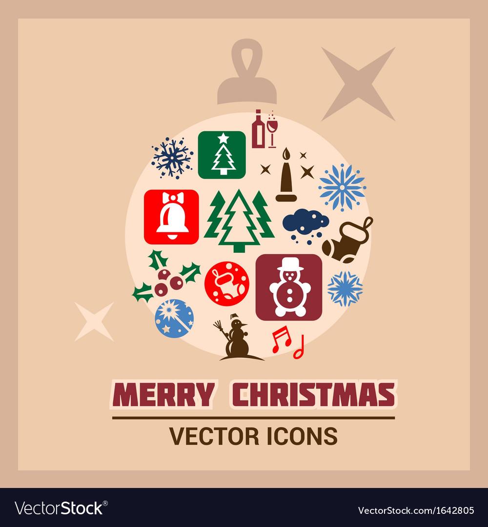 Merry christmas icons set vector image