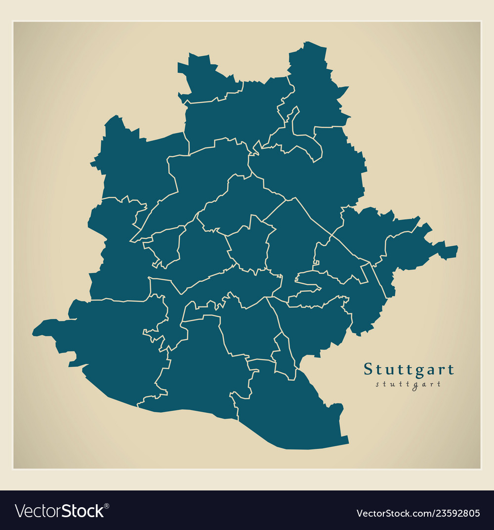 Stuttgart Map Of Germany.Modern City Map Stuttgart City Of Germany With Vector Image