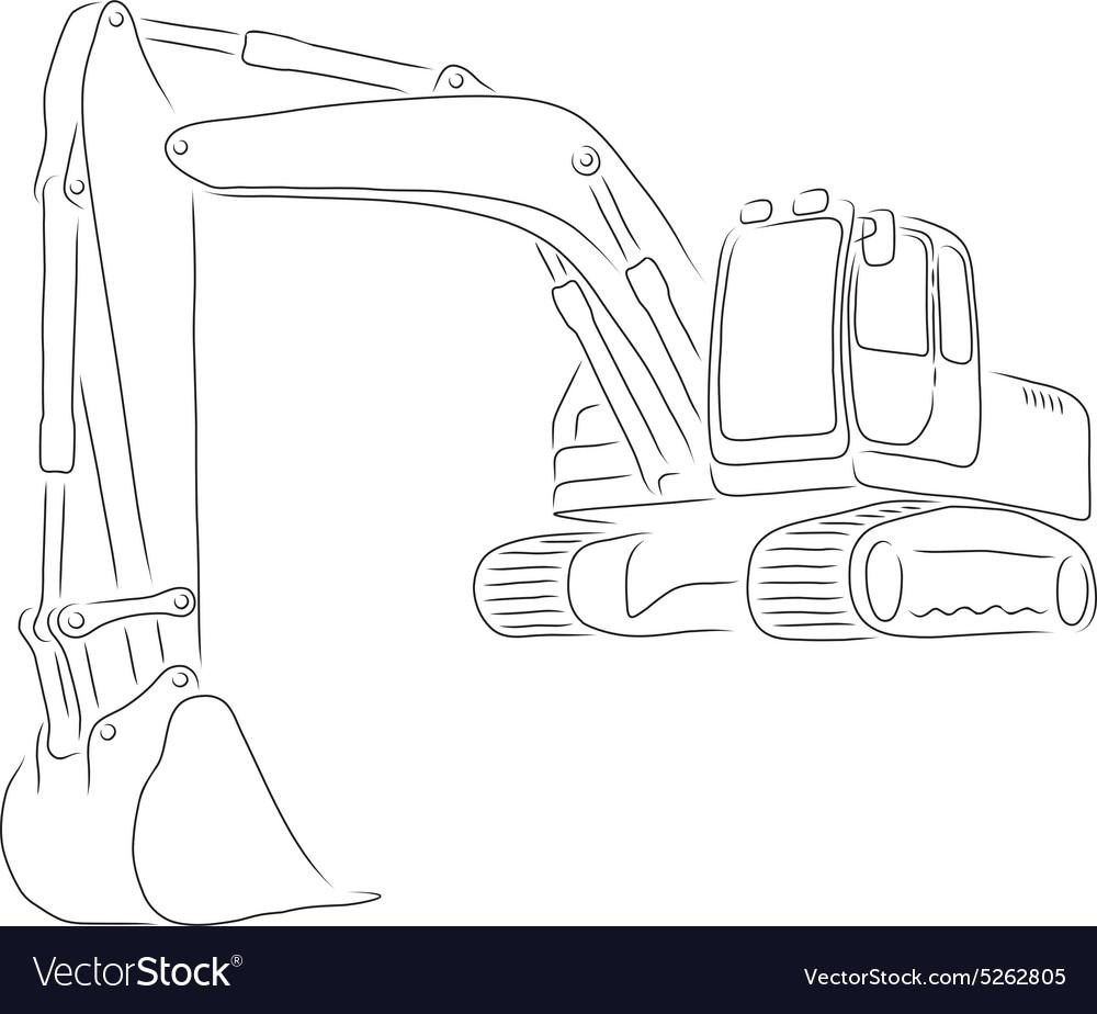 Outline Of Excavator Vector Image