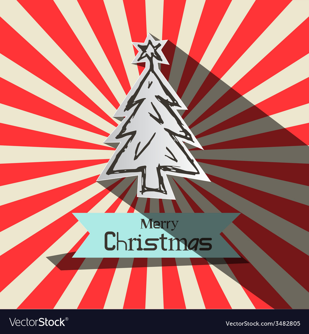 Retro Christmas Card witt Paper Cut Tree