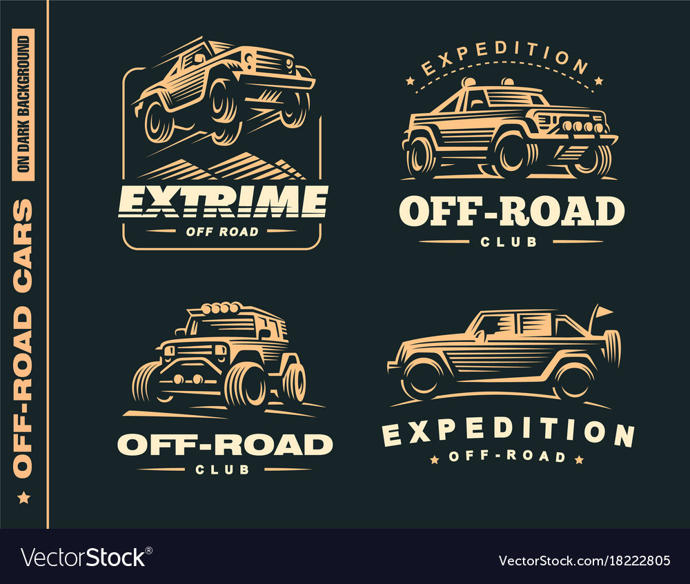 Set of four off-road suv car labels