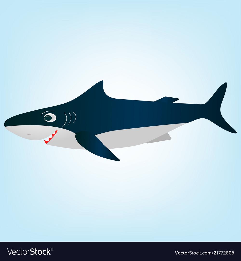 Smiling white shark cartoon