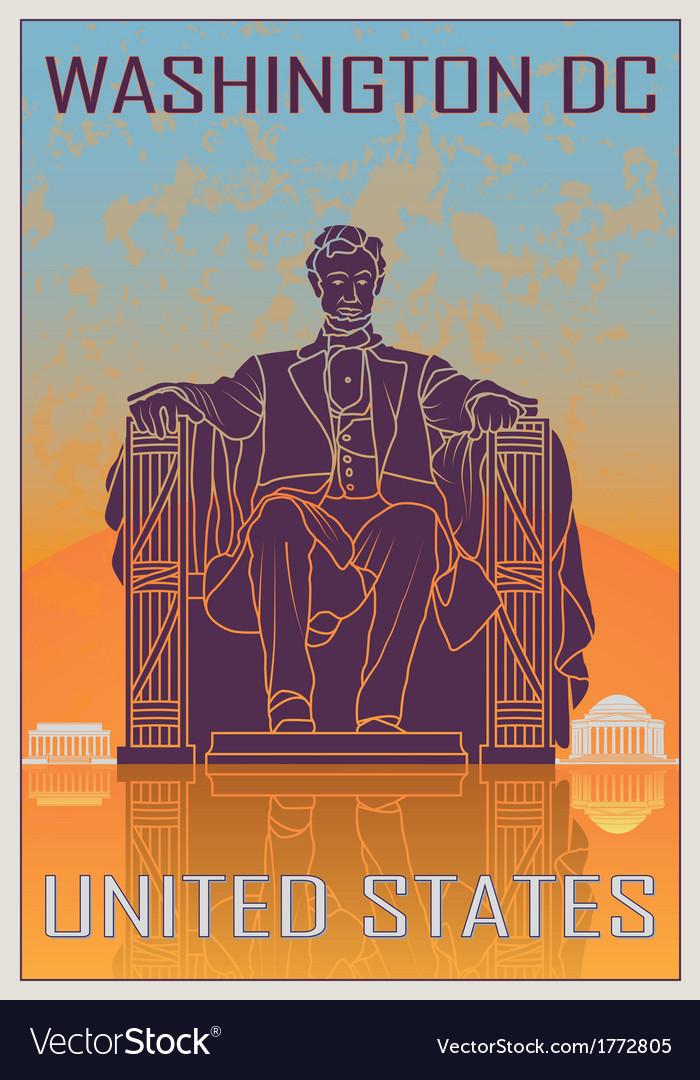 Washington DC vintage poster vector image