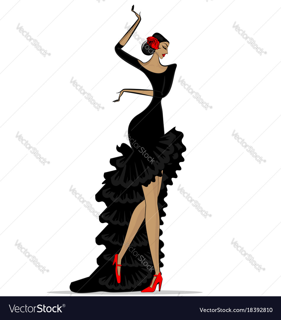Abstract flamenco woman in black