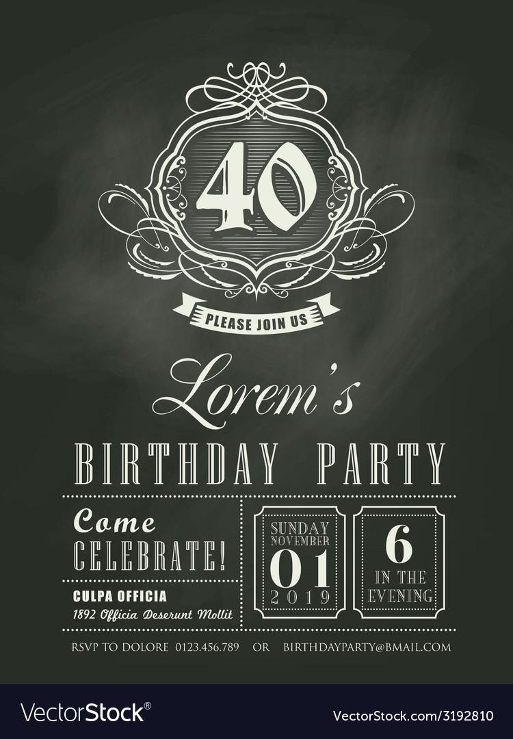 Anniversary birthday card chalkboard background