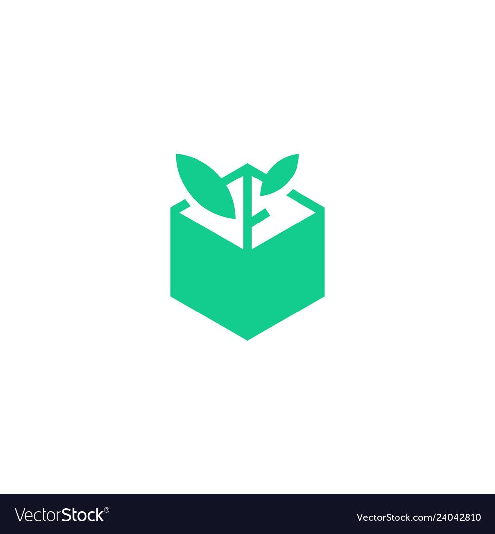 Leaf box plant logo icon line art outline monoline