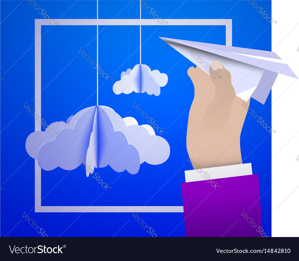 Male hand holding a paper plane against the sky