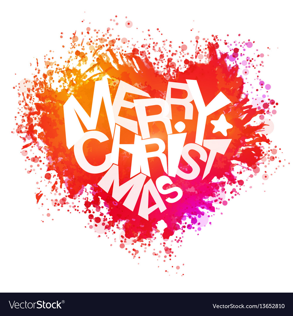 Christmas Heart Vector.Merry Christmas Bright Colors Watercolor Heart