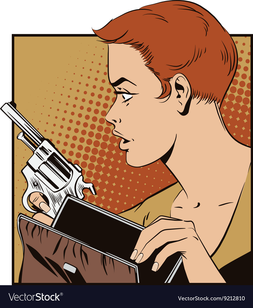People in retro style Girl with a gun