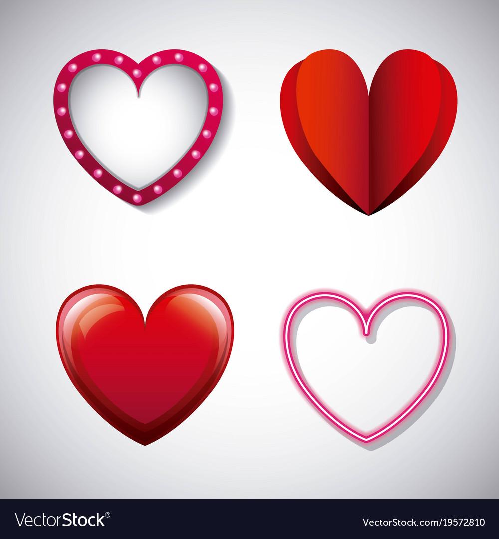 Romantic love hearts different design