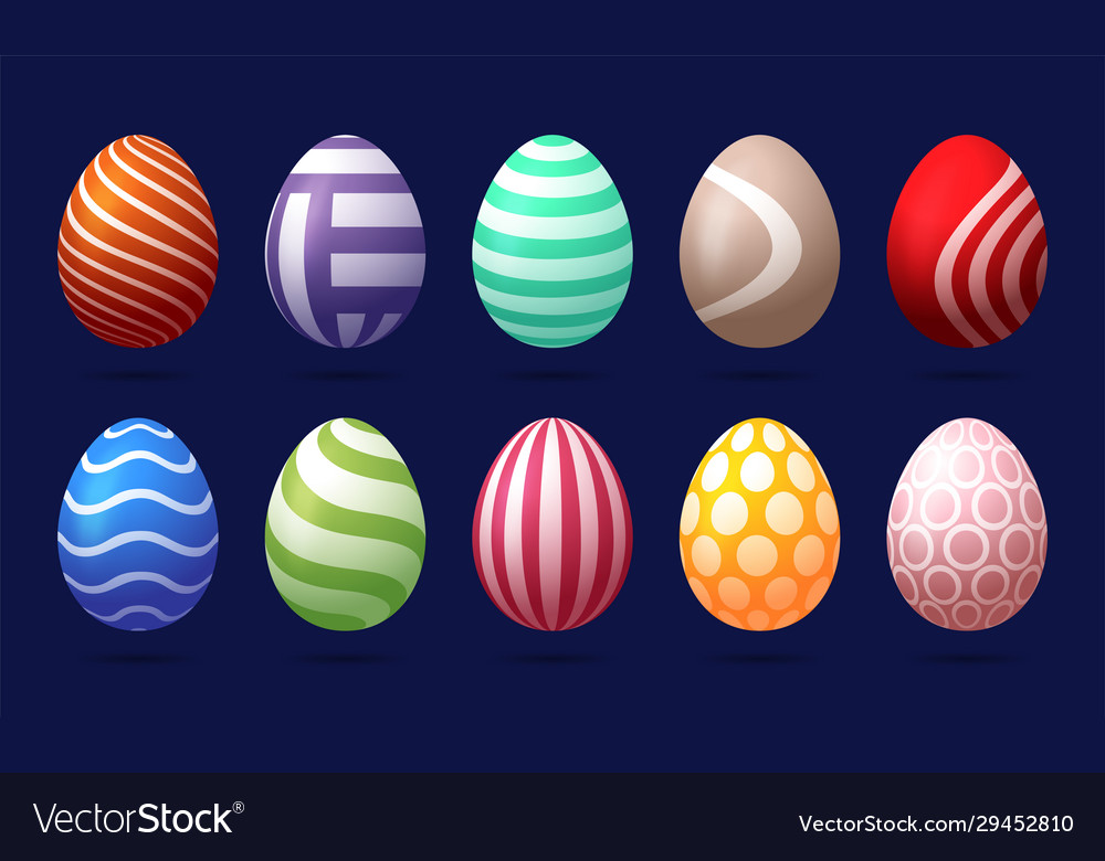 Set 10 color easter eggs with pattern design