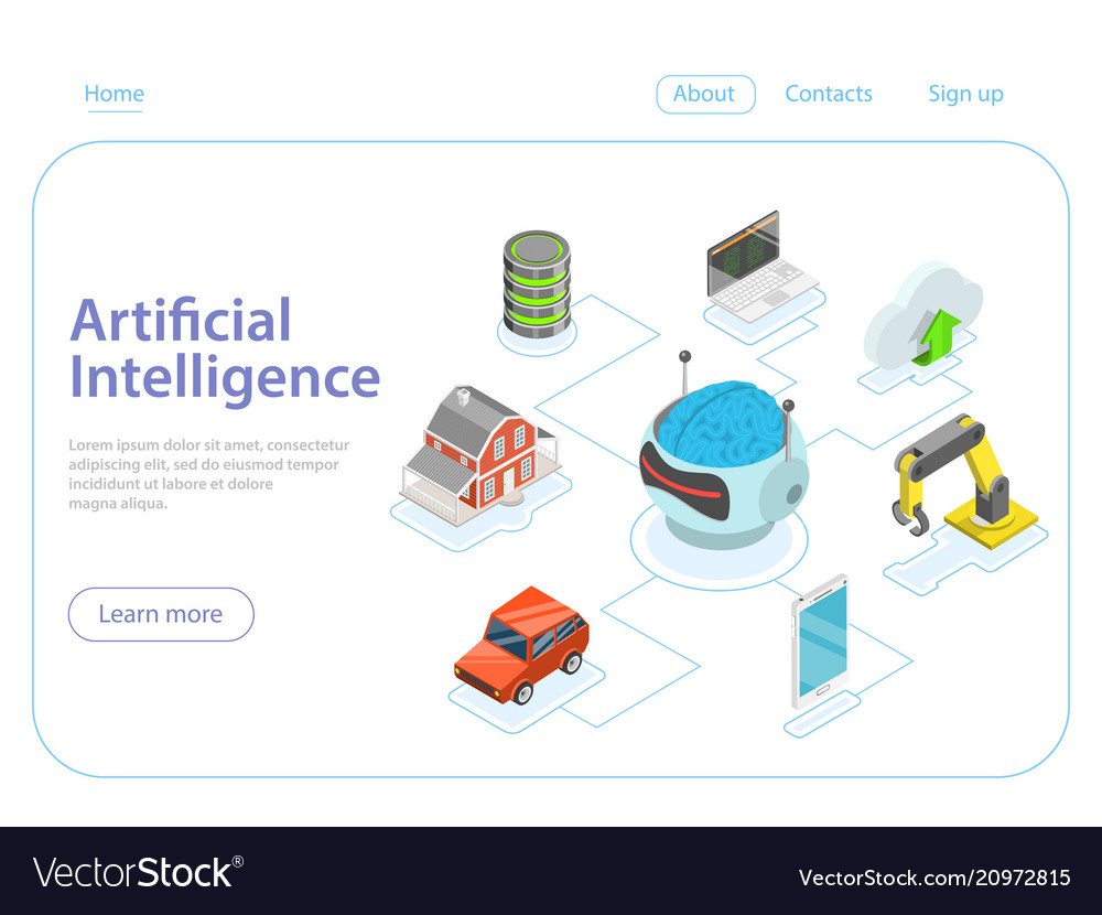 Artificial intelligence flat isometric