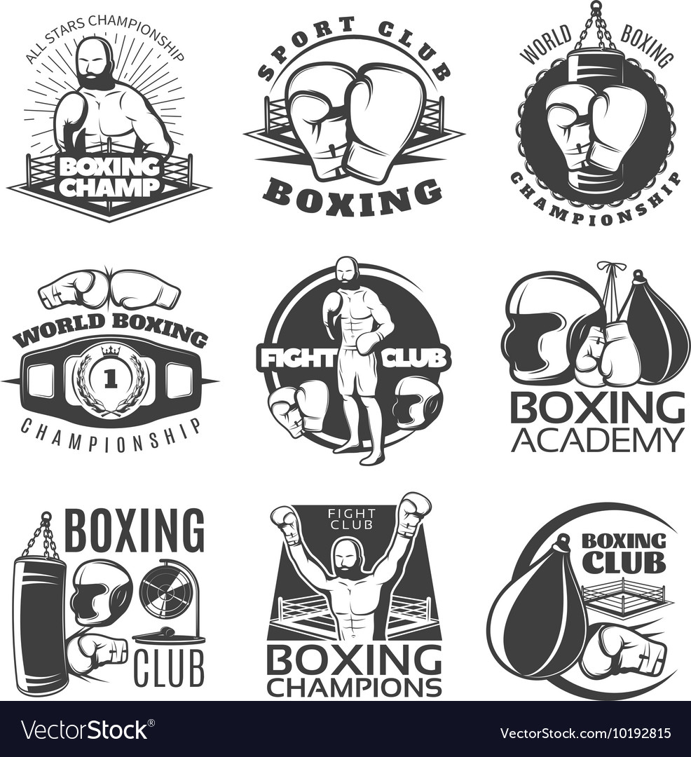 Boxing Black White Emblems