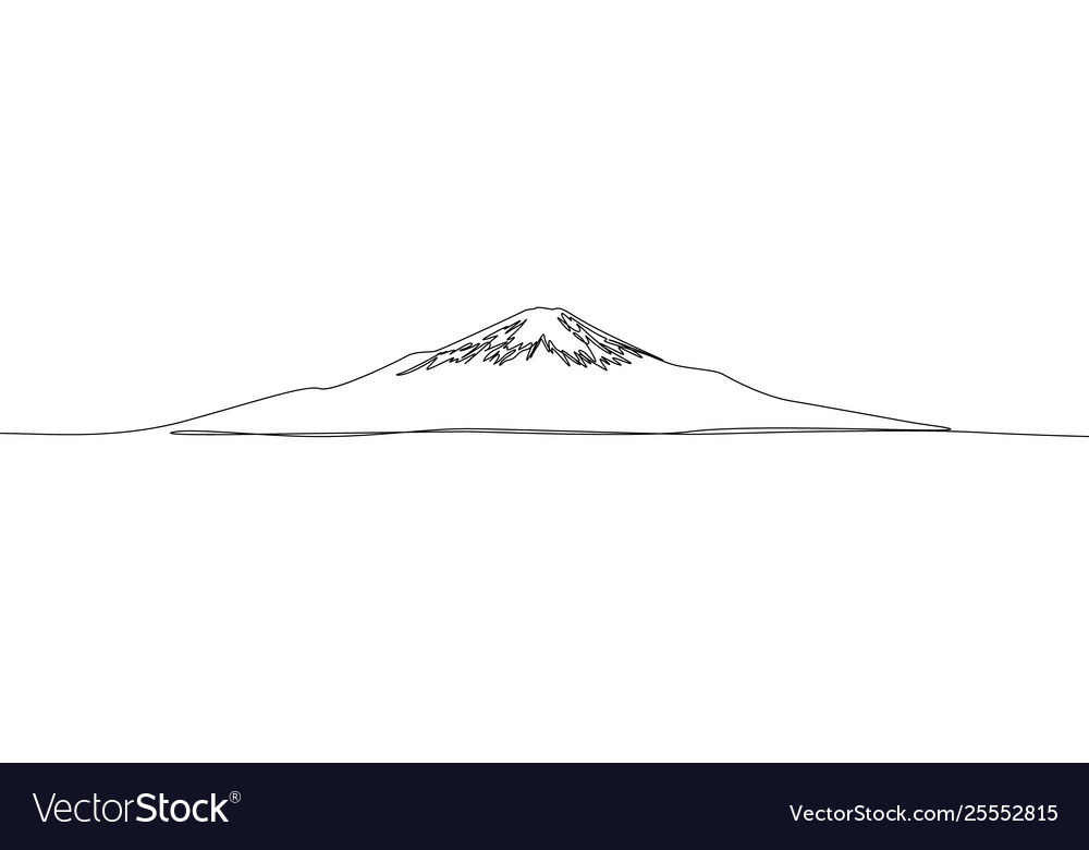 Continuous one line drawing fuji japan